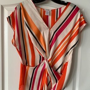 Bright multicolored silky twist front top